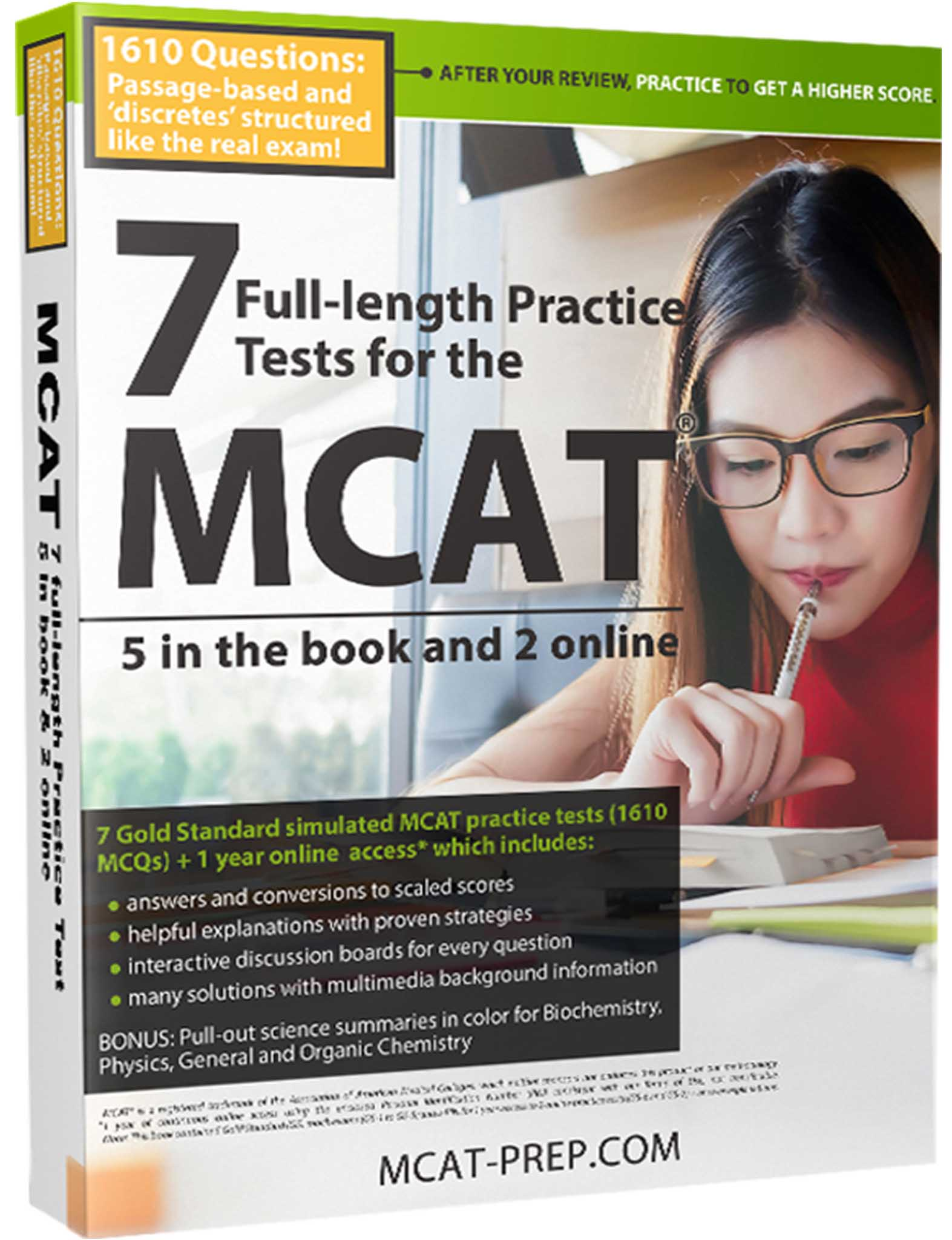 Gold Standard MCAT Guide 7 exams MCAT practice tests book